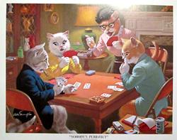 Cats playing poker picture